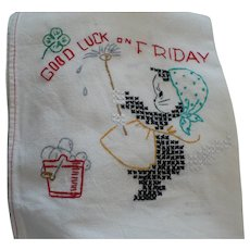 Good Luck Friday Embroidered Towel