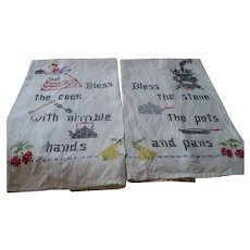 Pair Embroidered Motto Towels