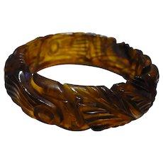 Tortoise Carved Bakelite Bracelet