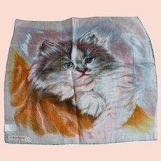 1950's Kitten Handkerchief