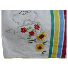 Teapot Flowers Embroidered Towel