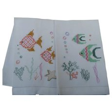 Embroidered Fish Towels