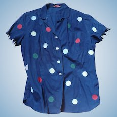 1950's Ship n Shore Polka Dot Blouse