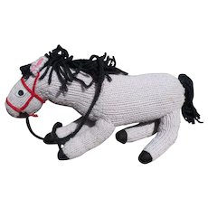 Gray Knit Horse Toy