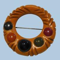 Bakelite Multi Color Circle Pin