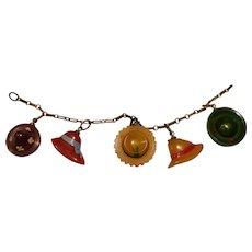 Bakelite Hat Charm Bracelet