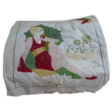 1940's Hand Embroidered Bathing Beauty Pillowtop