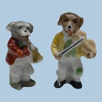 Pair Miniature Dog Musicians