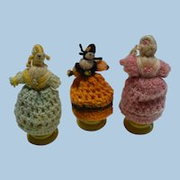 Three Crochet Egg Cup Ladies