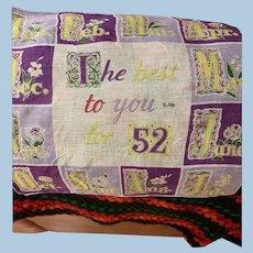 1952 Calendar Handkerchief