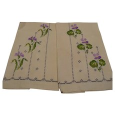 Hand Embroidered Lavender Hand Towels