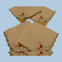 Linen Embroidered People Napkins
