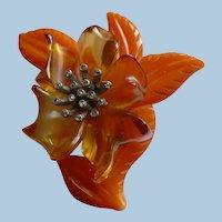 Two Color Bakelite Flower Pin