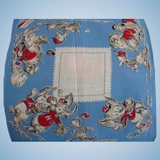 Elephants Ducks Baseball Child's Handkerchief