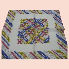 Colored Ribbon Print Handkerchief