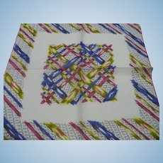 Colored Ribbon Print Handkerchief