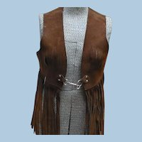 Brown Suede Leather 1970's Hippy Vest