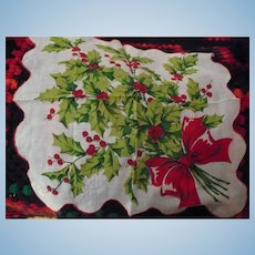 Xmas Holly Bouquet  Handkerchief
