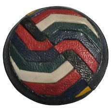 Large Pieced Leather French Button