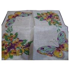 Linen Butterfly Handkerchief