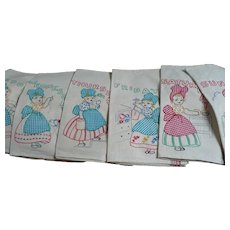 Hand Embroidered Applique Gingham Girl Towels