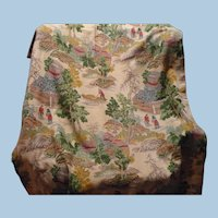 Asian Barkcloth Drapery Fabric Panel
