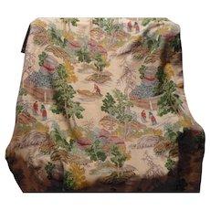 Asian Barkcloth Drapery Panel