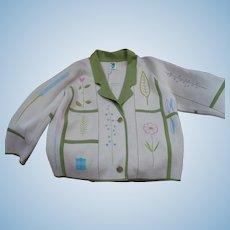 1950's Wool  Floral Knit Jacket