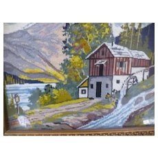 Needlepoint Mountain Old Mill Framed Picture