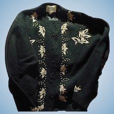 Black Beaded Cardigan sweater