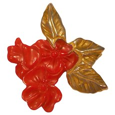 Bakelite Gold Clad Red Flower Pin