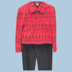 St. John Evening Pants  Jacket Red/Black Sparkle