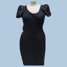 St John Evening Black Sequin Dress