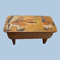 Folk  Art Wood Bank Indians