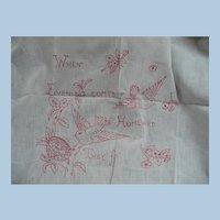 Embroidered Redwork Birds