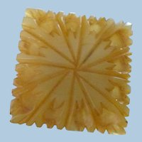 Carved Square Bakelite Button