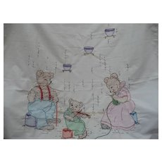 Three Bears Embroidered Bed Cover