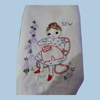Hand Embroidered Sewing Lady Towel