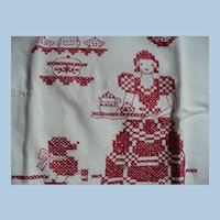 Redwork Hand Embroidered Towel