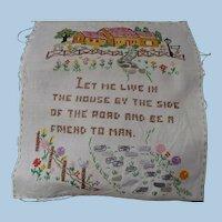 Hand Embroidered House Sampler
