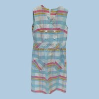 Cotton Plaid Sleeveless Dress 1960's