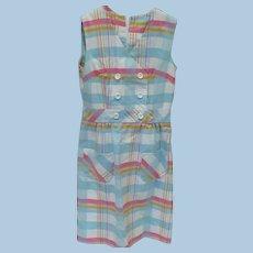 Cotton Plaid Sleeveless Dress 1960's