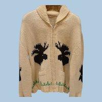 Cowichan Knit Zip Sweater Moose & Ducks