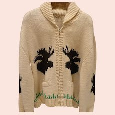 Cowichan Knit Zip Sweater Moose & Ducks