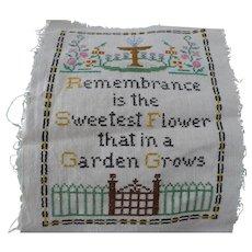 Remembrance Embroidered Sampler