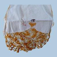 Hand Embroidered Crochet Crinoline Girl Runner