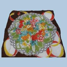 Brown Multicolor Floral Handkerchief