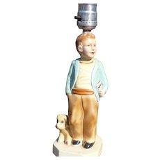Boy Chalkware Lamp