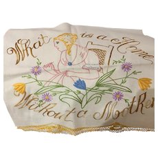 Hand embroidered mother towel