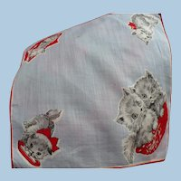Two Kittties Child's Handkerchief